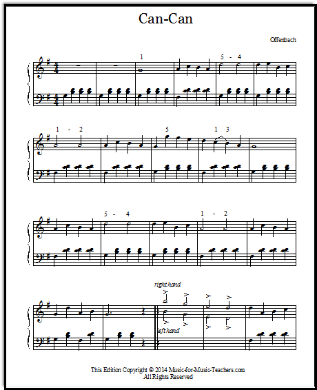 Can-Can for Piano: Free Printable Sheet Music Downloads for