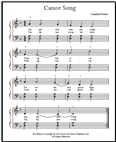 After Year One, in piano: Canoe Song