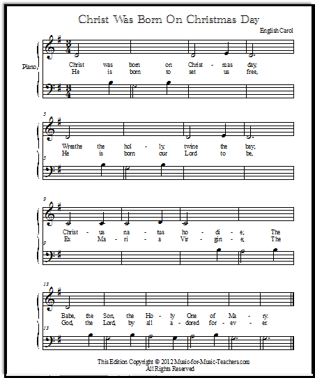 Free Christmas Piano Sheet Music Notes Once In Royal: Free Online Christmas Music For Piano Or Voice, Christ Was