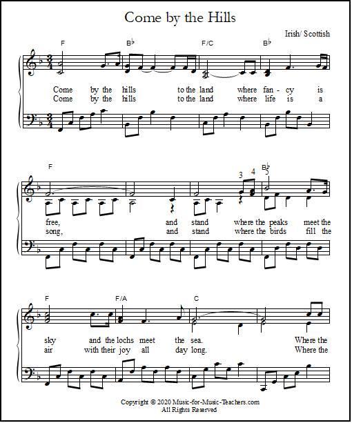 come by the hills lyrics & sheet music  music for music teachers