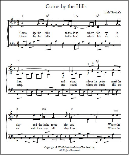 Piano and vocal sheet music for Come By the Hills