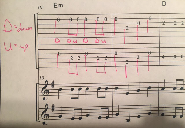 How to decipher the rhythm of tablature notes for guitar flat-picking - draw and add lines on the guitar tabs