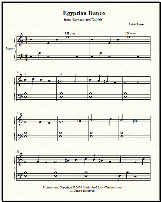 Egyptian Dance from Samson and Delilah by Saint-Saens for late elementary piano students
