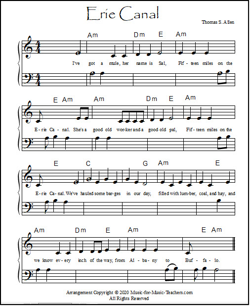 Erie Canal for beginner piano, with a few lettered notes in the music