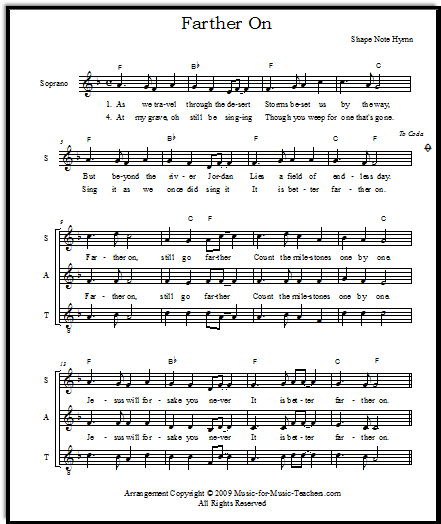 Farther On Shape Note hymn for ensemble