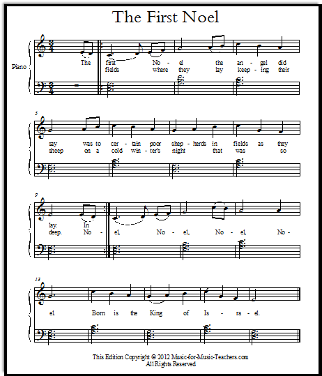 The First Noel free Christmas sheet music