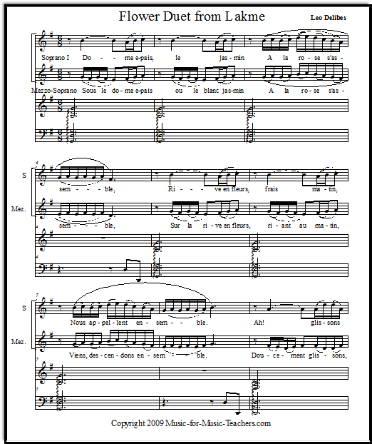 Flower Duet with easy piano accompaniment