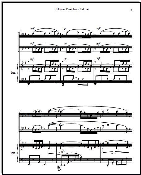 Lakme Flower Duet sheetmusic for bass instrumentalists