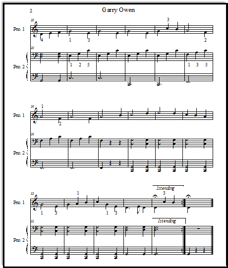 Garry Owen Irish duet, page 2 for piano.  Both parts.