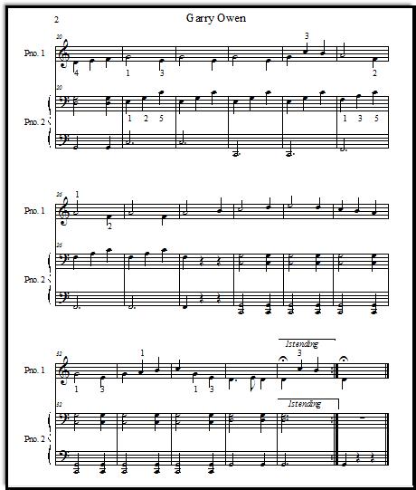 Piano Duet Sheet Music Garry Owen For Beginners