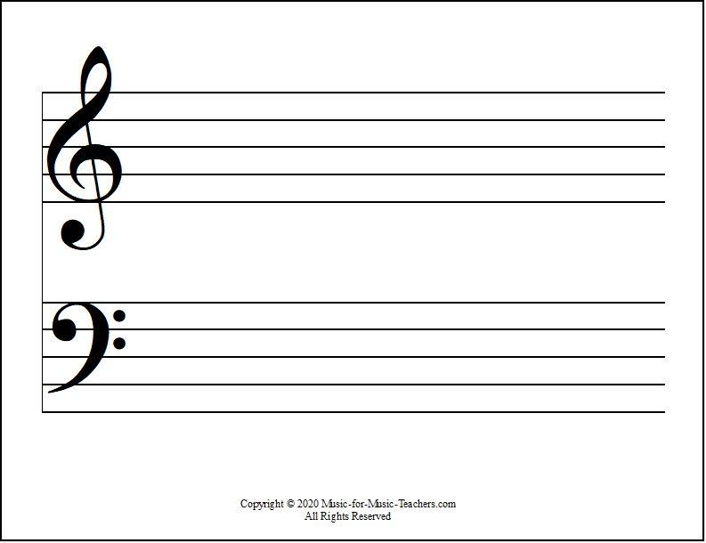 Grand staff horizontal with clef symbols