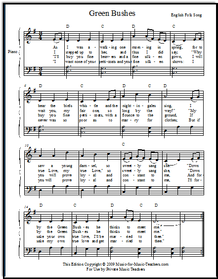 Free folk song Green Bushes