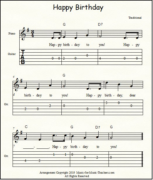 Guitar tablature and chords for Happy Birthday, key of G