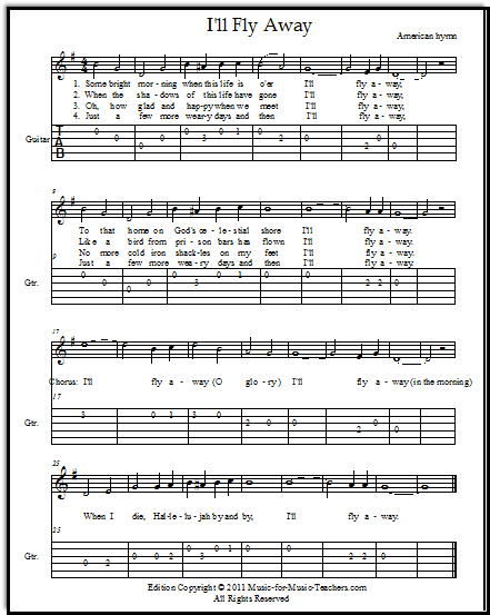 Hymn I'll Fly Away for guitar with easy guitar tabs