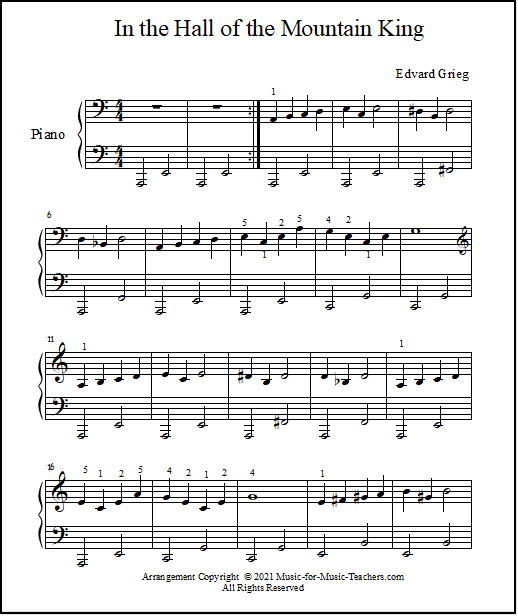 In the Hall of the Mountain King sheet music for piano