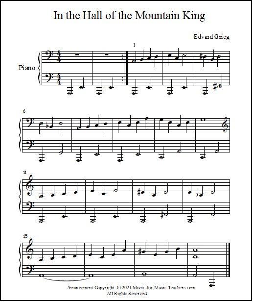Short piano arrangement of Grieg music