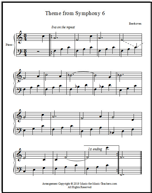 Sixth Symphony Theme arranged for beginning piano, Beethoven