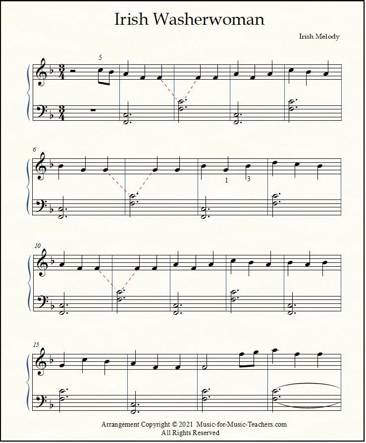 Irish Washerwoman sheet music for piano