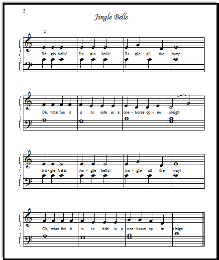 The main theme of Jingle Bells, with just a little bit of easy left hand harmony