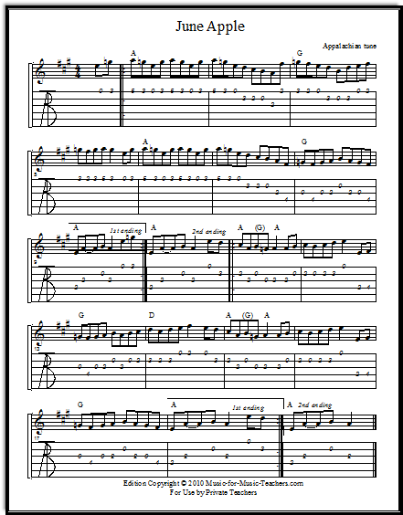 Violin tabs and guitar tabs for June Apple.  Download this free sheet music for your students!