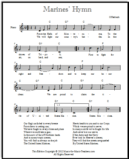 Marine hymn lyrics and sheet music