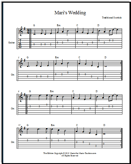 "Guitar Wedding Songs: Free Fiddle Sheet Music ""Mari's Wedding,"" A Traditional"