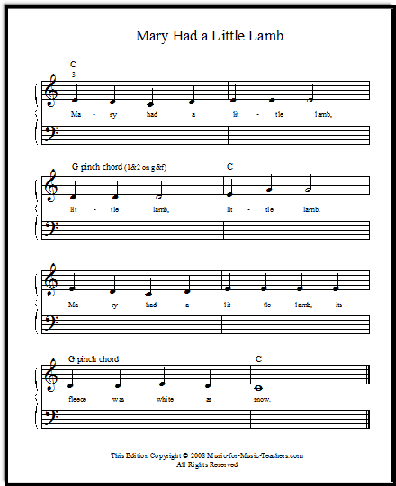 Mary Had a Little Lamb for beginner piano, free sheet music!