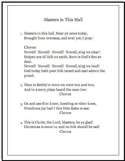 Christmas song lyrics Masters in This Hall