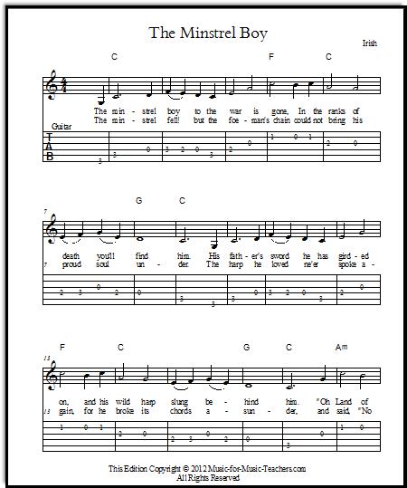 The Minstrel Boy sheet music free