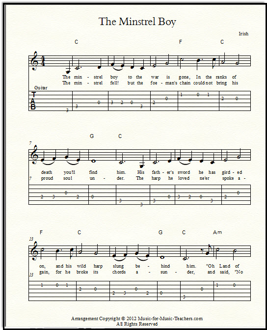 The Minstrel Boy sheet music with guitar tabs