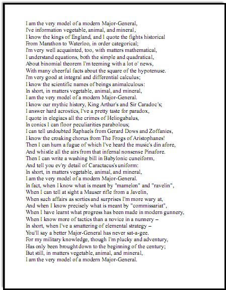 Gilbert and Sullivan lyrics for Modern Major General