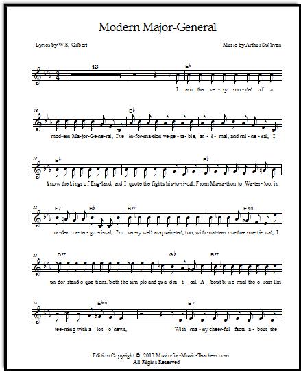 Pirates of Penzance sheet music Modern Major-General