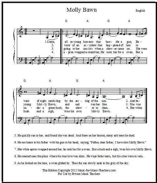 English ballad Molly Bawn free sheet music