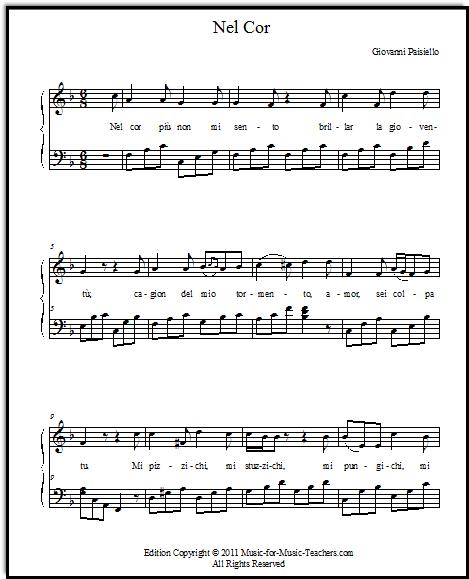 piano accompaniment for short aria Nel cor