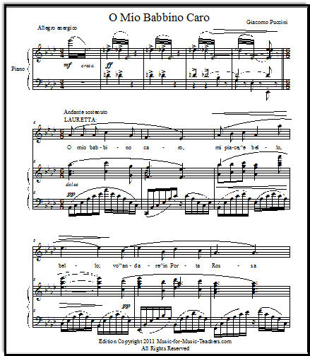 Piano and vocal sheet music for opera aria