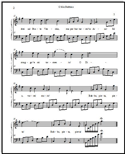 Opera sheetmusic for O mio babbino