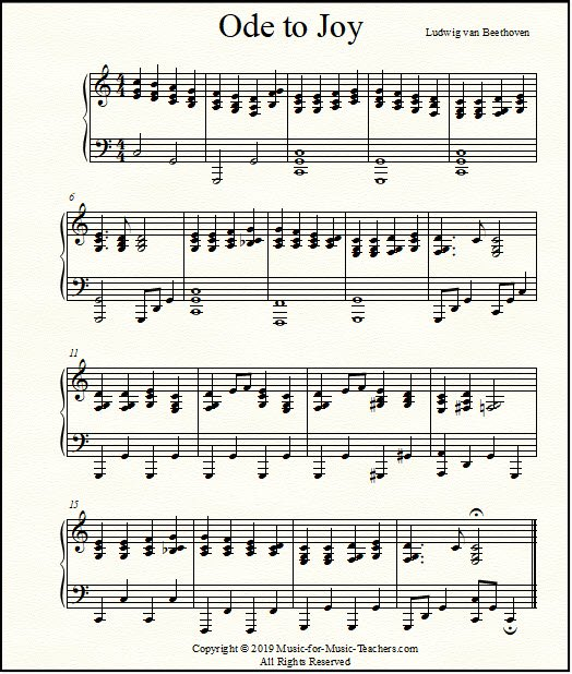 Ode to Joy arranged for advanced piano students or adults, with full-sounding chords