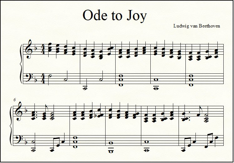 Close-up look at fancy arrangement of Ode to Joy in the key of F