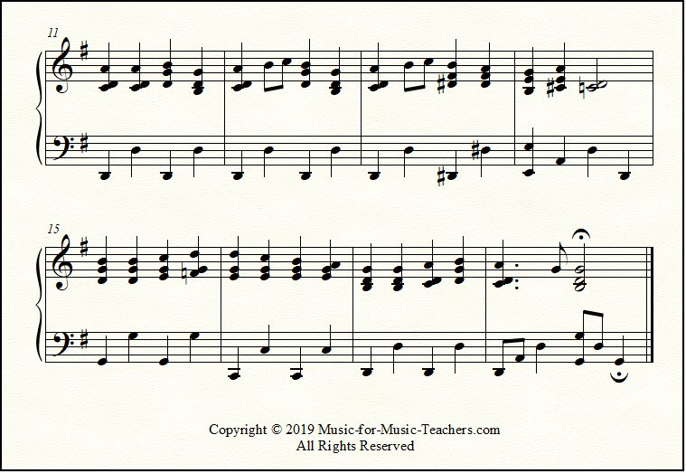 Key of G piano arrangement of Ode to Joy, a closeup look
