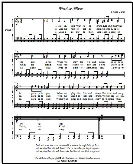 Pat-a-Pan, a French Christmas song.  This Christmas sheet music is FREE!