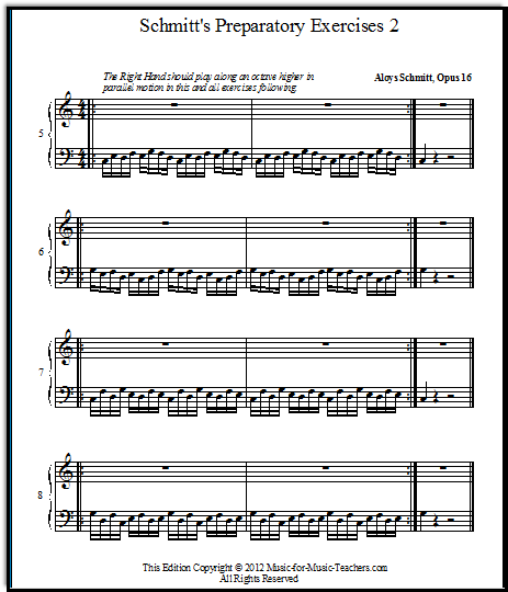 piano sheets for beginners, Schmitt exercises