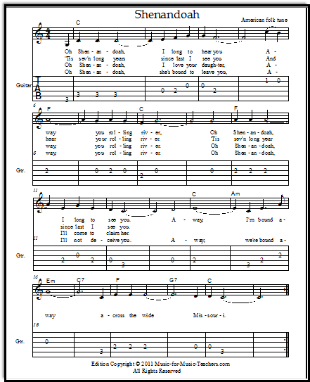 Guitar guitar tablature easy songs : Shenandoah for Voice or Guitar, with Free Lead Sheets and Guitar Tabs