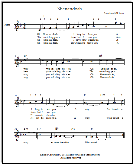 Shenandoah for solo voice or instrument