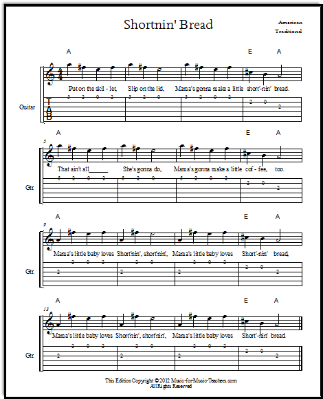 Shortnin' Bread, an American bluegrass song, given here as a lead sheet with guitar tabs