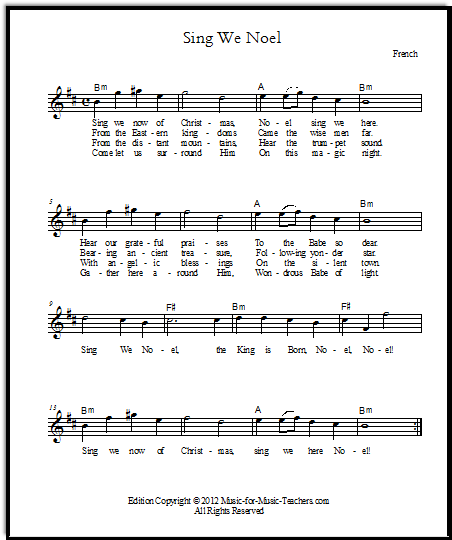 Lead sheet for Sing We Noel, with melody and chords and lyrics, in seven keys