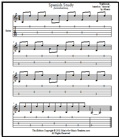 Spanish study with guitar tabs for beginner guitar students