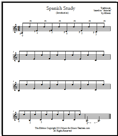 Easy guitar tabs for Spanish Study classical guitar