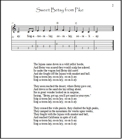 Page 2 of the key of C Sweet Betsy guitar arrangement