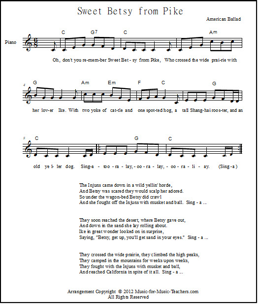 Free Lead Piano Sheet Sweet Betsy from Pike