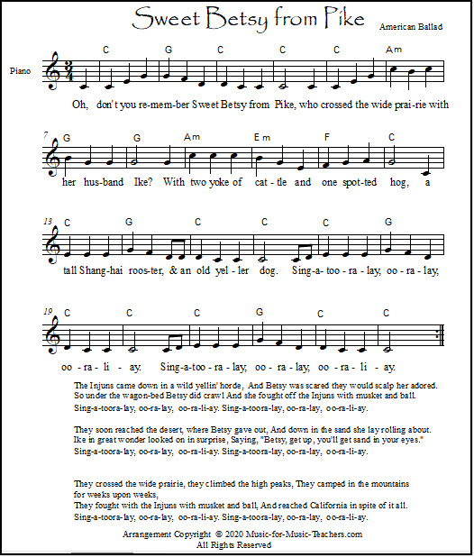 Sweet Betsy From Pike lead sheet with simple to read quarter notes
